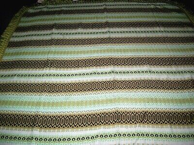bedspread / throw 70s green stripe double vintage