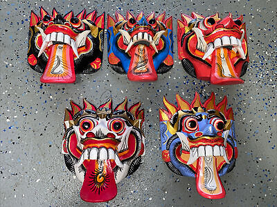 SET OF 5 GARUDA 3-D MASK WALL HANGER WOOD TIKI BAR HANGING WOOD ART Tiki VINTA