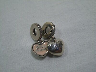 Set- 2 Authentic PANDORA Best Friends Always There Heart Charm-Pink S925 ALE