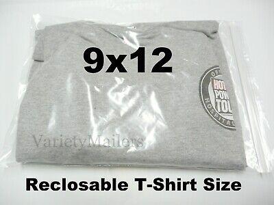 100 Clear Plastic Ziplock T-shirt Merchandise Bags 9x12 Reclosable Zipper Seal