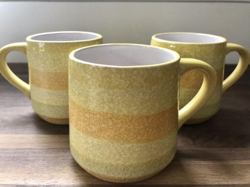 Vintage Holt-Howard 1962 Yellow Stripe Mugs Retro MCM