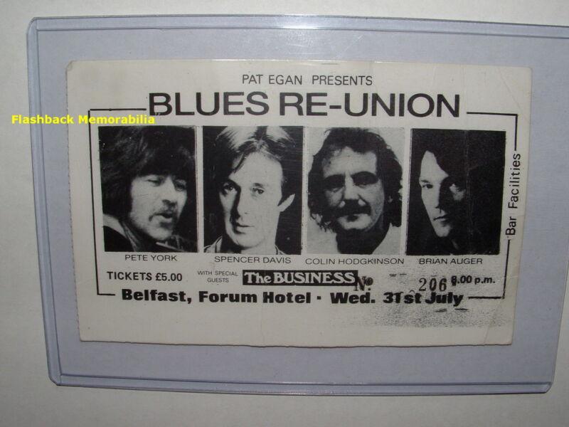 SPENCER DAVIS / BRIAN AUGER 1985 Concert Ticket Stub BELFAST Hodgkinson YORK