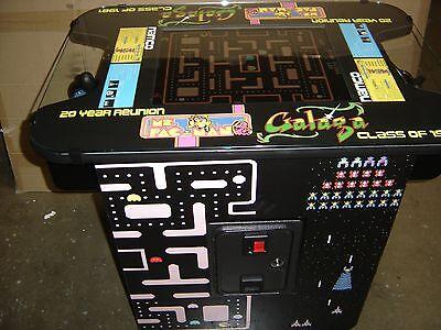 MS PAC MAN GALAGA ARCADE COCKTAIL TABLE ARCADE GAME . FREE STOOLS