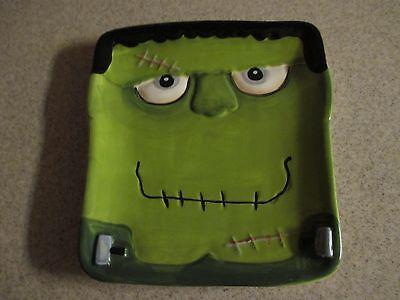 NEW-HALLOWEEN Green Frankenstein Snack Size Plate, Desserts, Appetizers, Candy!](Frankenstein Halloween Desserts)