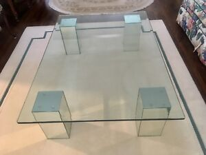 Solid Glass Coffee Table with mirrored legs