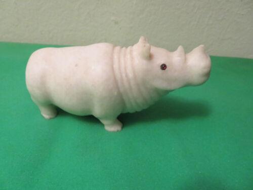 "Vintage Marble Soapstone? Rhino Rhinoceros Figure Glass Eyes AS IS 6"""