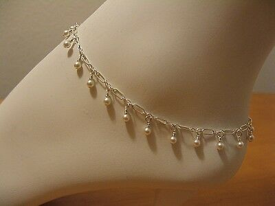 Swarovski White Pearl Fringe Style Anklet on Sterling Silver GORGEOUS & ON SALE!