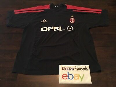 VINTAGE ADIDAS ACM ( AC MILAN ) SOCCER SHIRT ( MENS LARGE ) BLACK PREOWNED  AS IS bbec30b0b8d2a