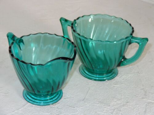 Jeannette Ultramarine SWIRL Depression Glass Sugar & Creamer