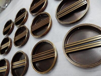Shoji Screens or Sliding Door Handles 1950s era Brass plated vintage set of 12 b