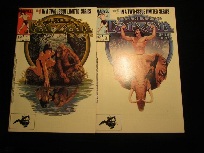 Tarzan of the Apes #1 & #2 Set (1984, Marvel) VF Limited Series Edgar Burroughs