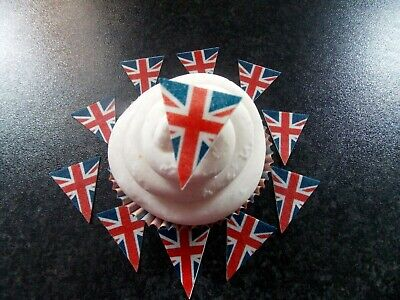 30 PRECUT Union Jack/VE Day Bunting/Flag Edible wafer/rice paper cupcake topper