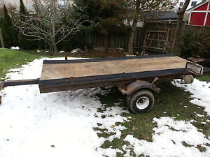 tilting sled trailer with ski guides, heavy duty