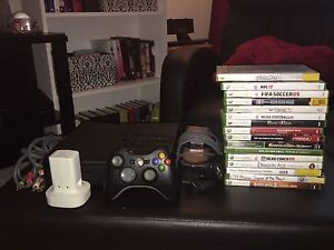 Xbox 360 slim+remote+games