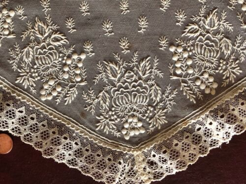 Early 19th C. embroidered net and point ground bobbin lace edge FICHU Collar