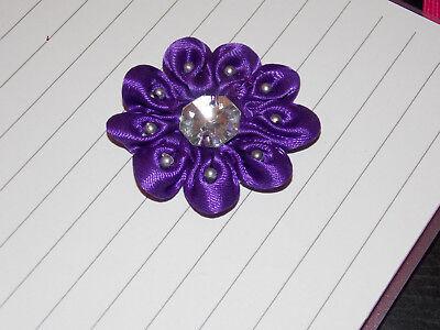 purple satin jewel flower 4.5cm kids glue on Sew on Applique Motif Patch trim - Jewel Trim Satin