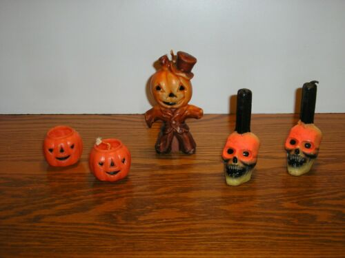 Vintage Halloween Gurley Wax Candles RARE Skulls Jack O Lantern Scarecrow 5pc