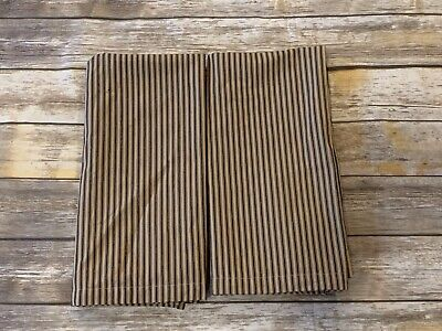 Home Collections By Raghu Ticking Stripe Tan Black  Valance Lined Pair 36 X 36