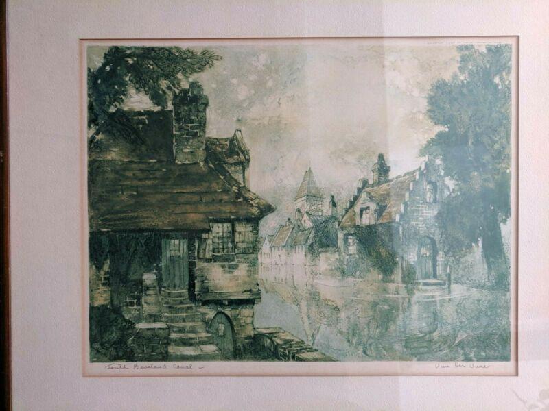 FRASER MILNE /'THE CRINAN CANAL BASIN/' FRAMED SIGNED PRINT