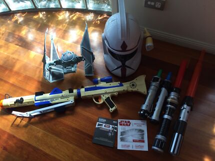 Star Wars Clone helmet, clone blaster with sound. 4 lightsabers etc Clear Island Waters Gold Coast City Preview
