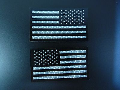 "USA FLAG SET BLACK AND REFLECTIVE solasX 3.5""X2"" WITH VELCRO® BRAND FASTENER"