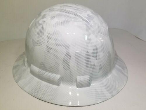 FULL BRIM Hard Hat custom hydro dipped, NEW  MILITARY ANTARCTICA DIGITAL CAMO  1
