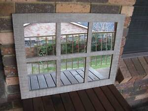 Rustic Greyish Timber Window Style Wall Mirror 76x59cm