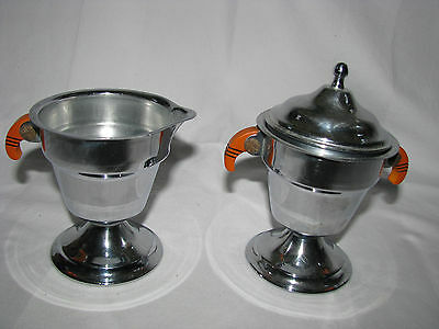 Vintage Stainless Steel/Chrome Creamer & Covered Sugar Bowl W/Bakelite Handles