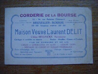 Carte publicitaire Corderie de Bourse Maison Veuve Delit -Rue Dansaert BRUXELlES