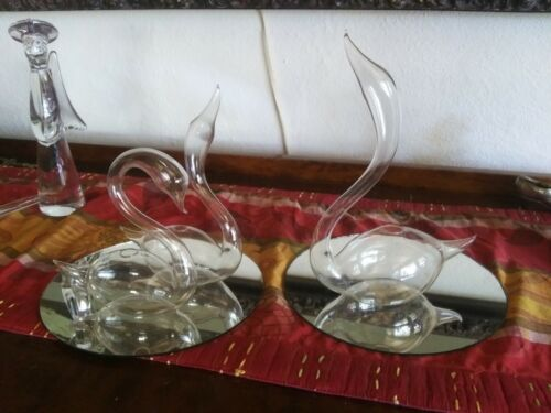 Vintage HANDBLOWN Glass SWAN Sculptures in Glass SET Lot With Mirrors