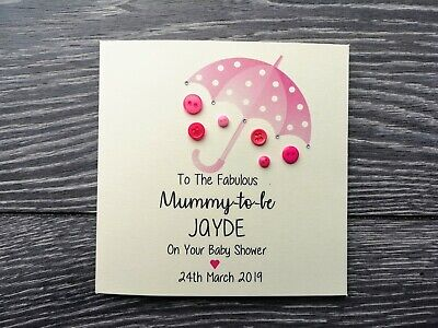 Handmade and personalised button card Baby Shower blue pink yellow or green (Green And Blue Baby Shower)