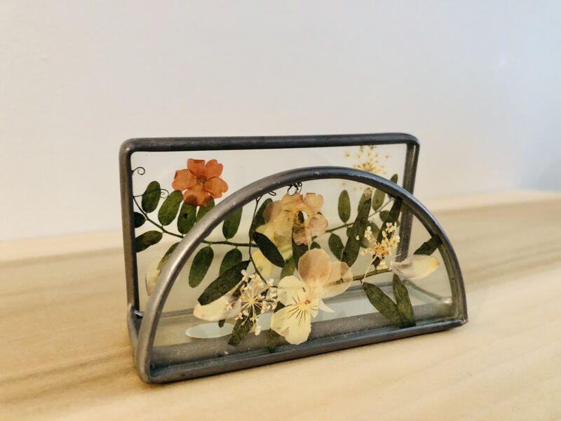 Pressed Flower Business Card Holder Glass Welding Berkeley Designs Gift Desk