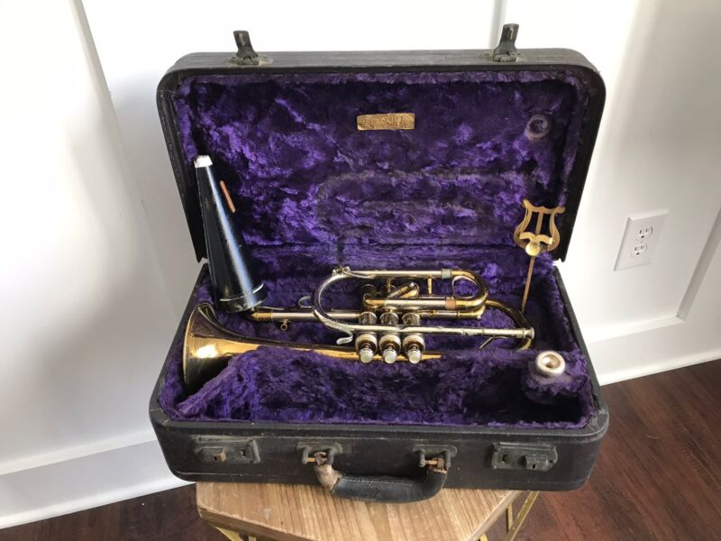 Vintage 1937 Buescher The 400 True Tone Cornet W/ Original Case Duo Cup 99 D MP