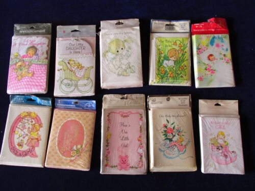 Lot Vintage 80 Baby Girl Birth Announcement Cards 1960