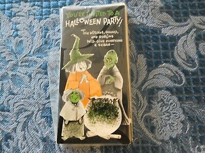 Vtg 1950s Halloween Paper Party Invitations Laurel Cards Witch Goblin 12 NIP