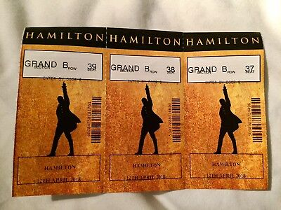 HAMILTON the Musical 3 x Used Ticket Stubs ( Grand Circle Row B ) 12/04/18