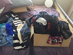 Huge box of women's clothing, shoes & bags