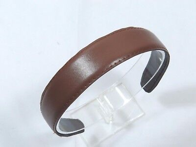 Classic Faux leather headband 1 1/8 inches wide Brown topstitch smooth ouchless Faux Leather Headband