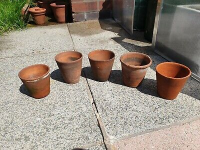 ANTIQUE VICTORIAN TERRACOTTA SEEDING HERB POTS PLANTERS VASE HAND MADE THROWN