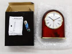New Classic Dome Desk Clock in Mahogany Finish With 3 Quartz Battery Insert