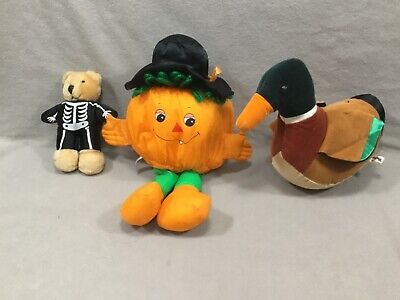 Halloween Stuffed Animals Bulk (Lot 3 Vtg Plush  Stuffed Characters from 1980's, Two Halloween, One Mallard)
