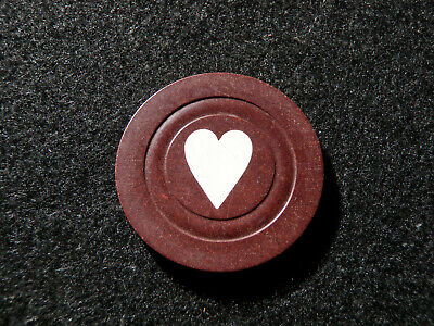 Chocolate Poker Chips (Antique Heart or Love Poker Chip - Brown / Chocolate 1900s Old Rare Gaming)