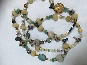 agate-shell-tiger eye-pearl-clear quarts-aventurineeglass necklac Naremburn Willoughby Area Preview