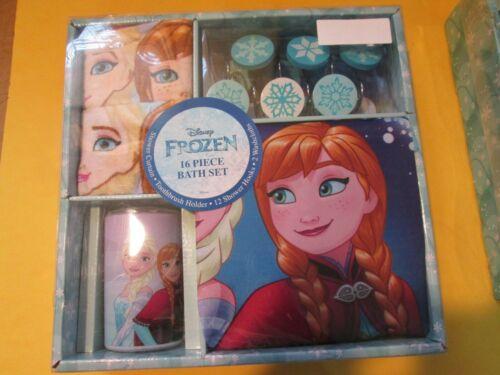 Disney Frozen Elsa 16Pc Bathroom Set Shower Curtain Hooks Towels  NEW SEALED