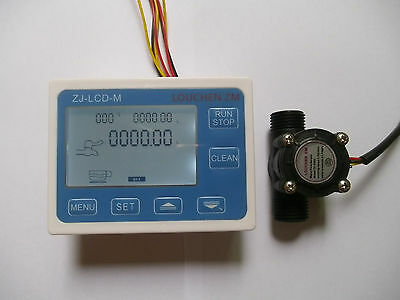 Hall Effect G12 Flow Water Sensor Meterdigital Lcd Display Control