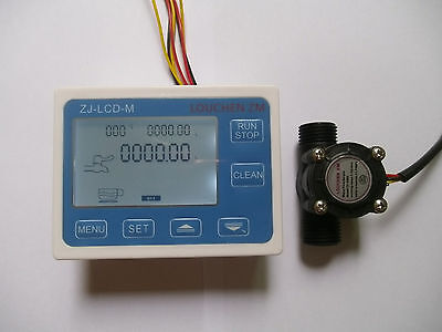 "2019 Hall effect G1/2"" Flow Water Sensor Meter+Digital LCD Display control"