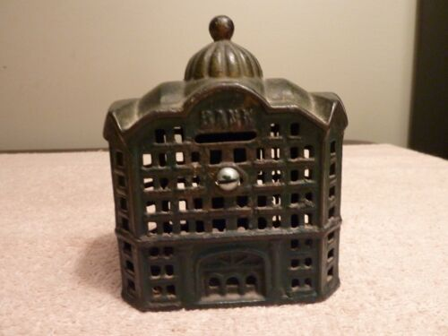 """A.C. Williams Cast Iron Domed Bank Coin Bank 5"""" 1920"""