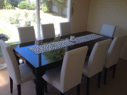 Dare Gallery Black Gloss Glass Table x8 white leather chairs  Belmont Geelong City Preview