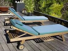Pair of quality teak sun loungers Bilgola Pittwater Area Preview