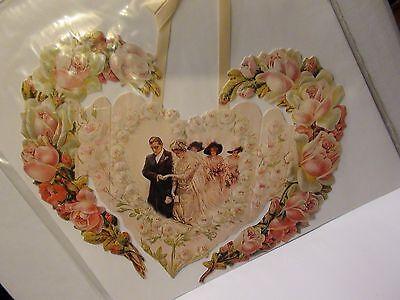 Victorian Heart Wedding Card Hanging Satin Ribbon Embossed Bride/Groom Roses